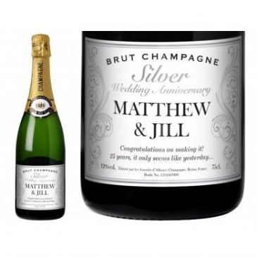 Decorative Silver Anniversary Personalised Champagne